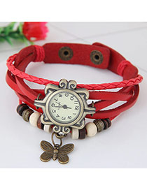 Vintage Red Butterfly Pendant Decorated Multi-color Simple Watch