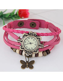 Vintage Plum Red Butterfly Pendant Decorated Multi-color Simple Watch