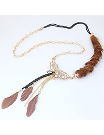 Personality Dark Pink Feather Pendant Decorated Simple Long Necklace
