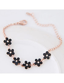 Cute Black Flower Shape Diamond Decorated Simple Bracelet