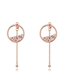 Fashion Gold Color Round Shape Diamond Decorated Simple Pure Color Earrings