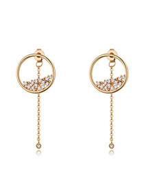 Fashion Rose Gold Round Shape Diamond Decorated Simple Pure Color Earrings