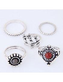 Trendy Antique Silver Round Shape Diamond Decorated Irregular Shape Ring(5pc)