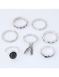 Trendy Antique Silver Round Shape Diamond Decorated Irregular Shape Ring7pc)
