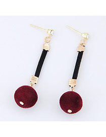Elegant Red Fuzzy Ball Pendant Decorated Simple Long Earrings
