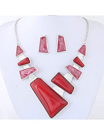 Trendy Red Pure Color Decorated Irregular Shape Jewelry Sets