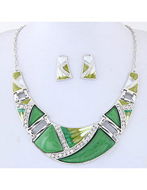 Trendy Green Pure Color Decorated Irregular Shape Jewelry Sets