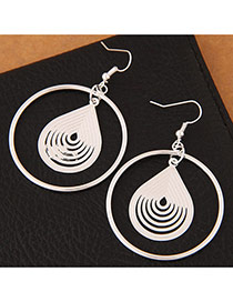 Trendy Silver Color Water Drop Shape Pendant Decorated Pure Color Simple Earrings
