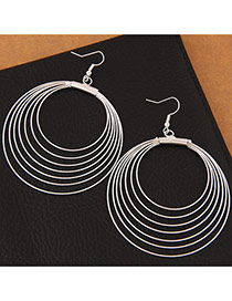 Trendy Silver Color Circles Decorated Multi-layer Pure Color Earrings