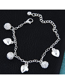 Fashion Silvercolor Heart Shape Pendant Decorated Pure Color Bracelet