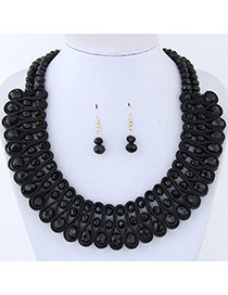 Elegant Black Round Shape Diamond Decorated Pure Color Jewelry Sets