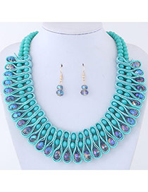 Elegant Blue Round Shape Diamond Decorated Color Matching Jewelry Sets