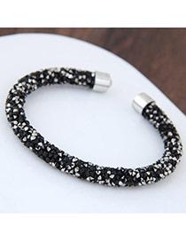Fashion Black Full Diamond Decorated Pure Color Opening Bracelet