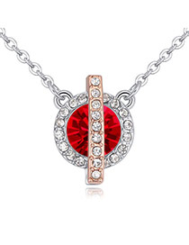 Fashion Red Round Shape Diamond Decorated Color Matching Necklace