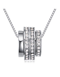 Fashion White Round Shape Diamond Decorated Pure Color Multi-layer Necklace