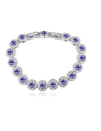 Fashion Purple Round Shape Diamond Decorated Pure Color Bracelet