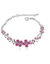 Fashion Plum Red Round Shape Diamond Decorated Flower Shape Pure Color Bracelet