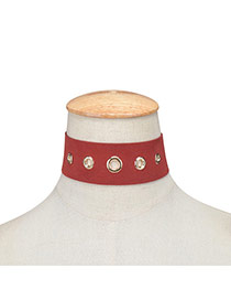Exaggerated Claret-red Hollow Out Rivet Decorated Pure Color Chocker