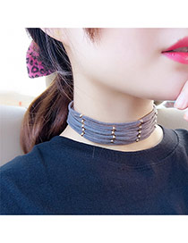 Elegant Dark Gray Geometric Wool Multilayer Cross Decorated Pure Color Chocker