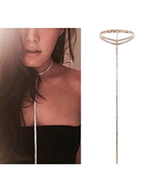 Fashion Gold Color Lond Tassel Pendant Decorated Pure Color Double Layer Choker