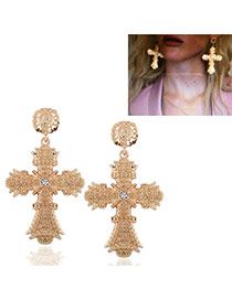 Fashion Gold Color Diamond Decorated Cross Shape Design Pure Color Simple Earrings