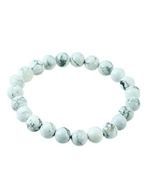 Fashion White Gemstone Decorated Pure Color Design Simple Bracelet