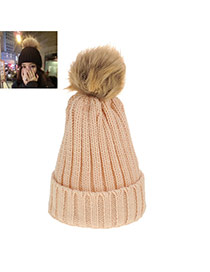 Sweet Beige Fuzzy Ball Decorated Pure Color Cap