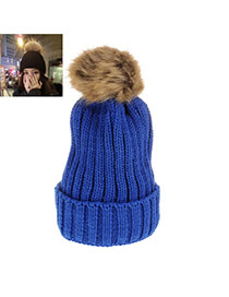 Sweet Sapphire Blue Fuzzy Ball Decorated Pure Color Cap