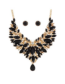 Fashion Black Water Drop Shape Diamond Decorated Hollow Out Design Jewelry Sets