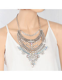 Fashion Multi-color Diamond Decorated Hollow Out Multi-layer Necklace