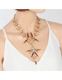 Fashion Gold Color Water Drop Shape Diamond Decorated Pure Color Necklace