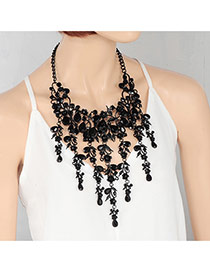 Fashion Black Oval Shape Diamond Decorated Tassel Design Pure Color Necklace