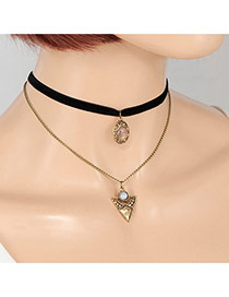 Fashion Gold Color Triangleshape Pendant Decorated Double Layer Choker