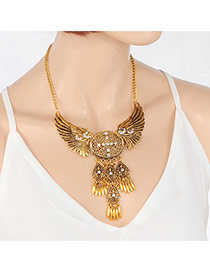 Fashion Gold Color Oval Shape Pendant Decorated Wings Shape Design Pure Color Necklace