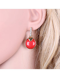 Fashion Red Hear Decorated Round Shape Simple Earrings