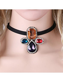 Fashion Black Water Drop Diamond Decorated Simple Choker