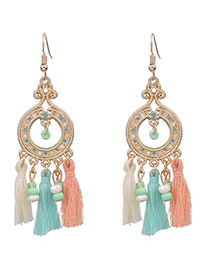 Bohemia Milti-color Tassel Pendant Decorated Round Simple Earrings