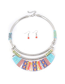 Bohemia Multi-color Printing Flower Decorated Double Layer Jewelry Sets