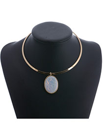 Fashion Gold Color Round Shape Pendant Decorated Pure Color Necklace