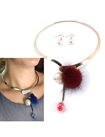 Fashion Red Fuzzy Ball Pendant Decorated Simpe Jewelry Sets