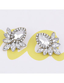 Fashion White Oval Shape Decorated Simple Pure Color Earrings