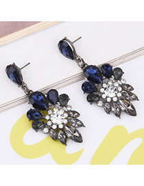 Fashion Blue Oval Shape Diamond Decorated Simple Earrings