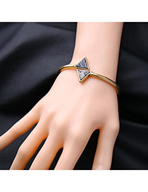Fashion Gold Color Triangle Decorated Simple Opening Bracelet