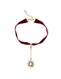 Vintage Red Sun Shape Pendant Decorated Simpe Choker