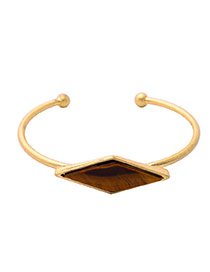 Fashion Gold Color Diamond Shape Decorated Simple Opening Bracelet