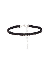 Fashion Black Beads Decorated Pure Color Short Chain Choker