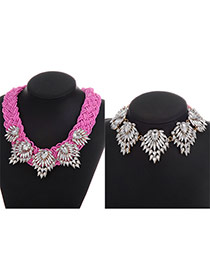 Fashion Pink Oval Shape Diamond Decorated Simple Jewelry Sets