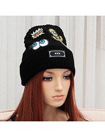 Elegant Black Cactus&eye Pattern Decorated Pure Color Cap