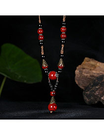 Vintage Red Round Shape Decorated Long Chain Necklace