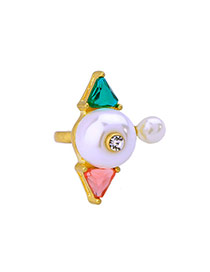 Fashion Multi-color Geometric Shape Decorated Simple Opening Ring